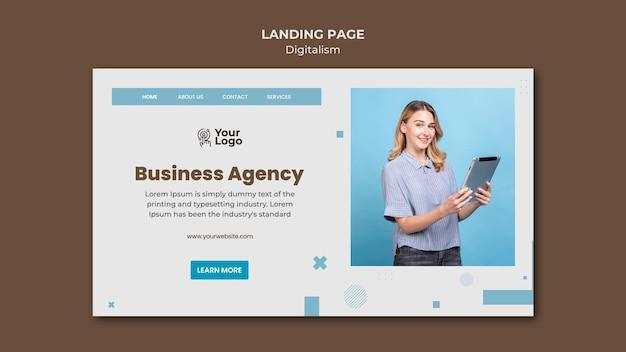 Modèle d'annonce commerciale de page de destination