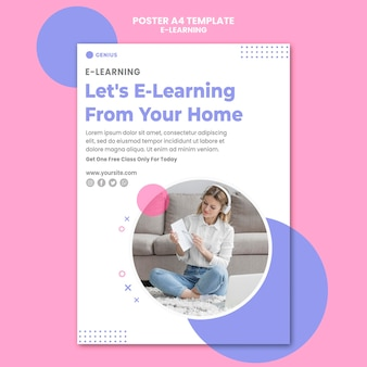 Modèle d'annonce e-learning affiche