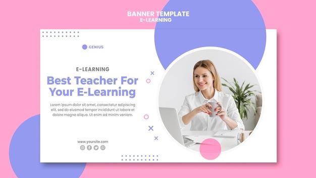 Modèle d'annonce e-learning bannière