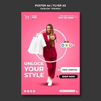 Modèle d'annonce de femme shopping affiche