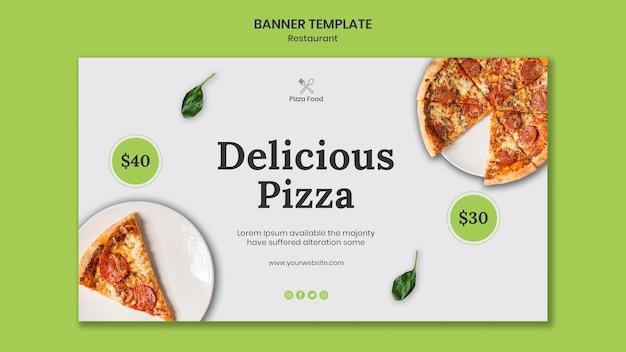 Modèle d'annonce de restaurant de pizza bannière