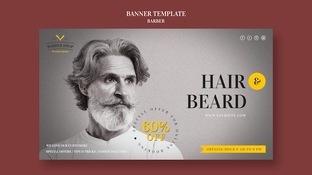 Modèle d'annonce de salon de coiffure bannière