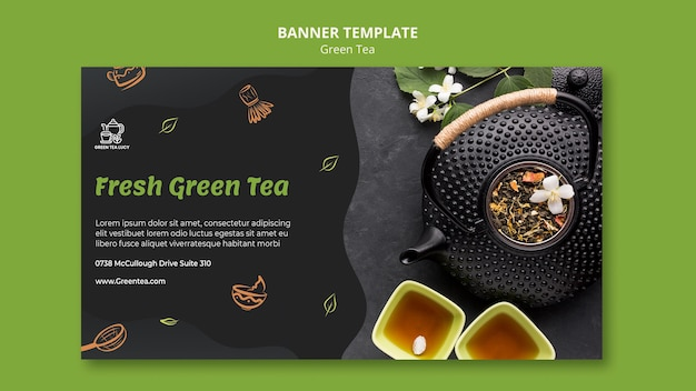 Modèle d'annonce de thé vert bannière