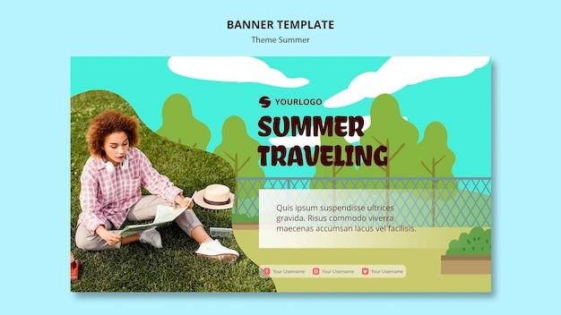 Modèle d'annonce de voyage d'été bannière