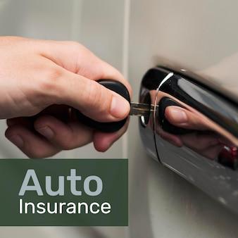 Modèle d'assurance automobile psd pour les médias sociaux avec texte modifiable