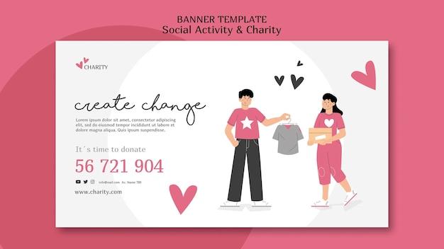 Modèle de bannière d'activité sociale et de charité illustré