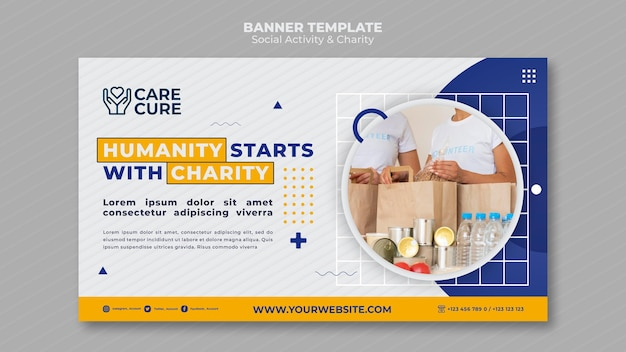 Modèle de bannière d'activité sociale et de charité