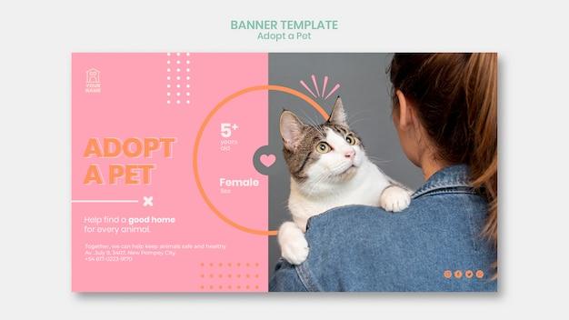 Modèle de bannière adopter un animal de compagnie