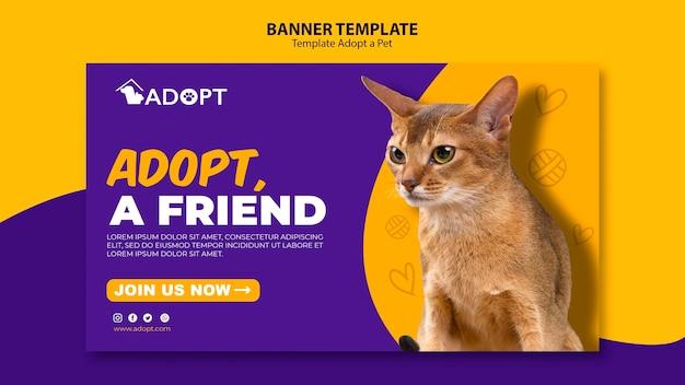 Modèle de bannière avec adopter le style animal de compagnie