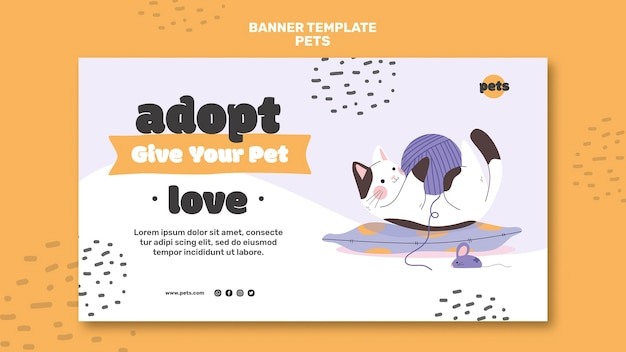 Modèle de bannière d'adoption d'animaux de compagnie