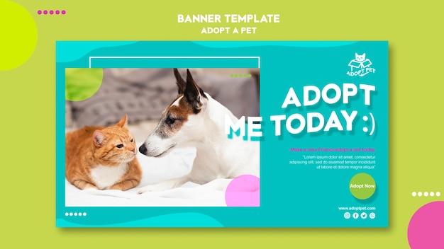 Modèle de bannière d'adoption d'animaux