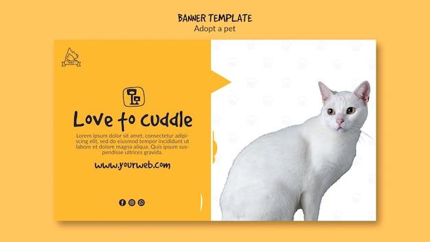 Modèle de bannière avec adoption d'animaux