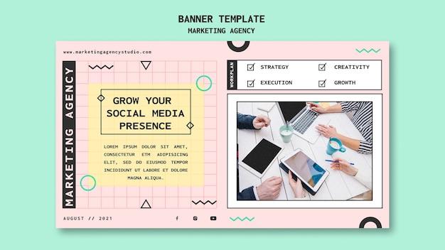 Modèle de bannière d'agence de marketing sur les réseaux sociaux