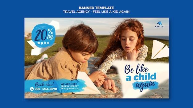 Modèle de bannière d'agence de voyage fille et garçon