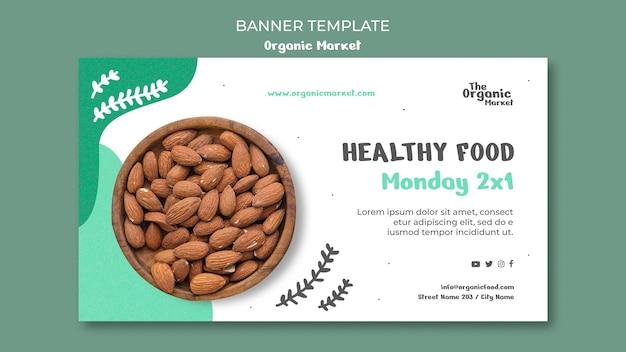 Modèle de bannière d'aliments biologiques