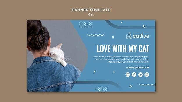 Modèle de bannière d'amant de chat