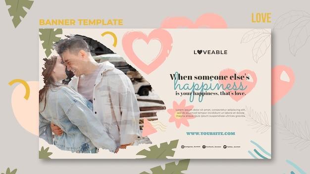Modèle de bannière d'amour avec photo