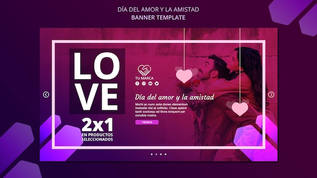 Modèle de bannière d'amour valentine