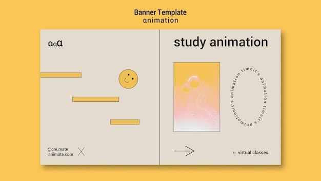Modèle de bannière d'animation d'étude