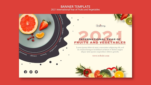 Modèle de bannière année fruits et légumes
