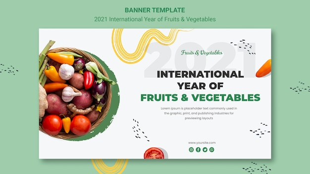 Modèle de bannière de l'année internationale des fruits et légumes