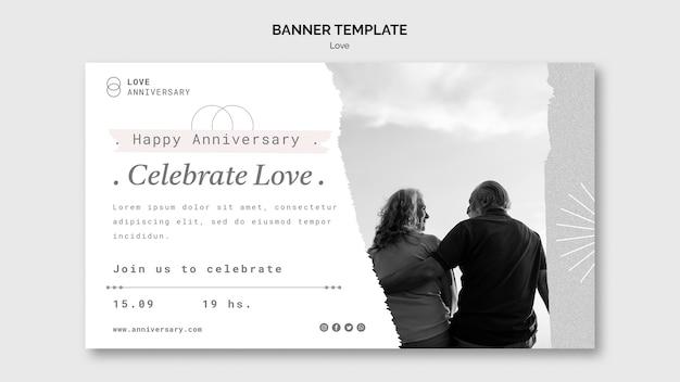 Modèle de bannière d'anniversaire de couple