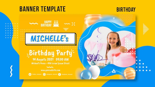 Modèle de bannière d'anniversaire avec photo