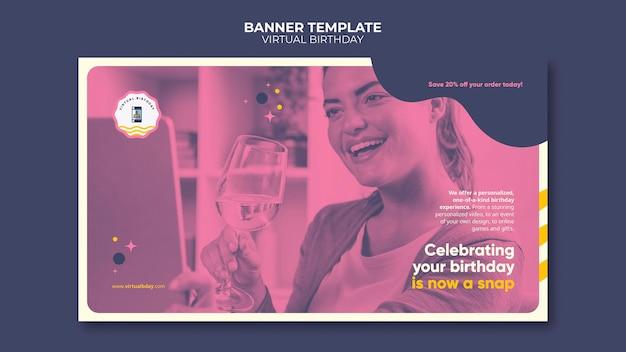 Modèle de bannière d'anniversaire virtuel