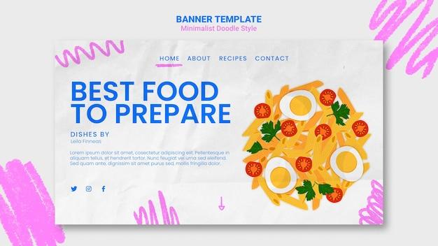 Modèle de bannière d'annonce de site web de recettes