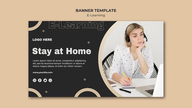 Modèle de bannière d'apprentissage en ligne avec photo
