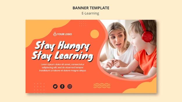 Modèle de bannière d'apprentissage en ligne