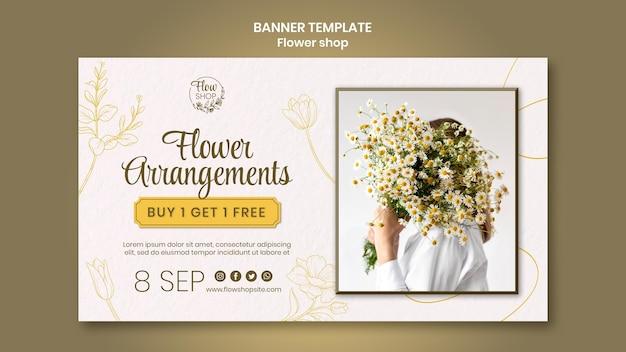 Modèle de bannière d'arrangements floraux