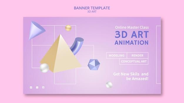 Modèle de bannière d'art 3d