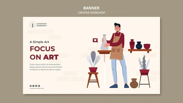 Modèle de bannière d'atelier créatif