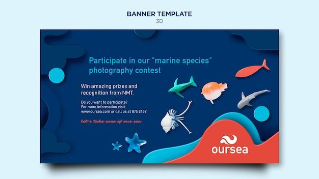 Modèle de bannière d'atelier sur l'environnement marin