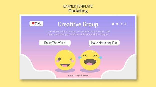 Modèle de bannière d'atelier marketing avec des visages souriants