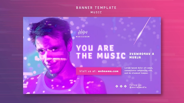 Modèle de bannière au néon horizontal pour la musique avec l'artiste
