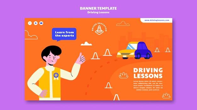 Modèle de bannière d'auto-école illustré