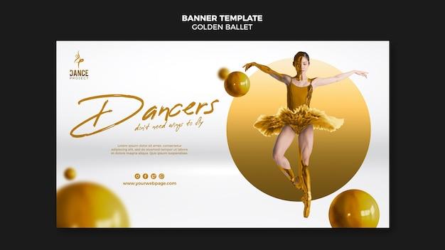 Modèle de bannière de ballet doré