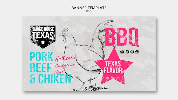 Modèle de bannière barbecue avec poulet