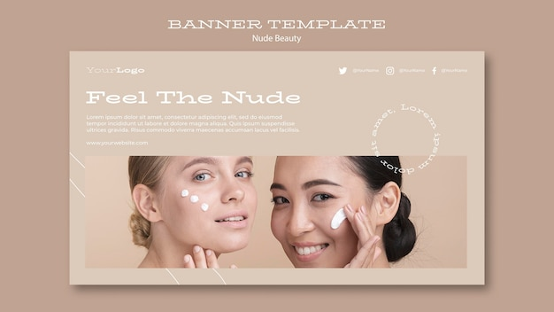 Modèle de bannière de beauté nue