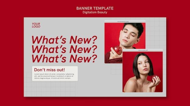 Modèle de bannière de beauté numérique avec photo