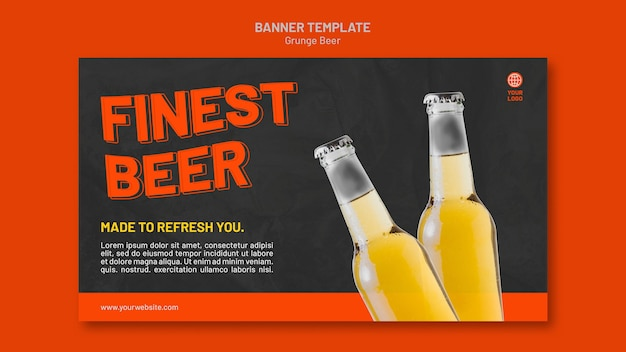 Modèle de bannière de bière grunge