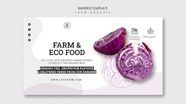 Modèle de bannière biologique de ferme