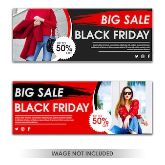 Modèle de bannière black friday big sale