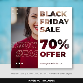 Modèle de bannière black friday sale de médias sociaux