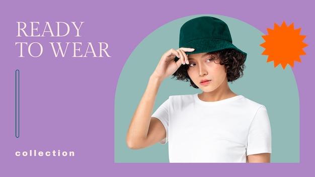 Modèle de bannière de blog de mode psd pour la collection de tenues femme