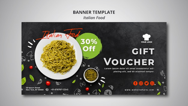Modèle de bannière avec bon pour un restaurant de cuisine italienne traditionnelle