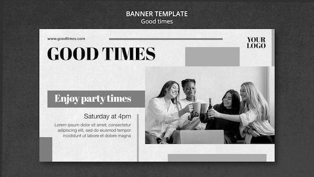 Modèle de bannière de bons moments en noir et blanc