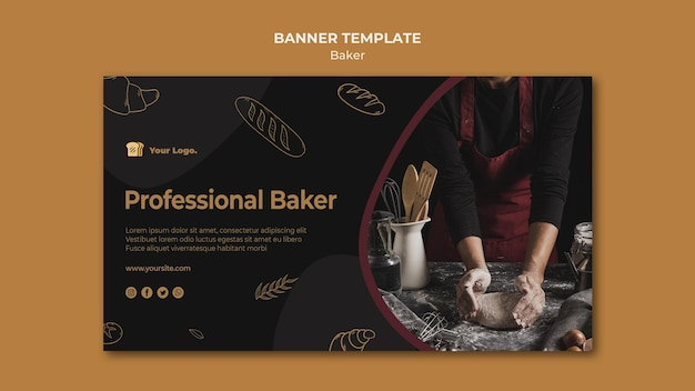 Modèle de bannière de boulanger professionnel